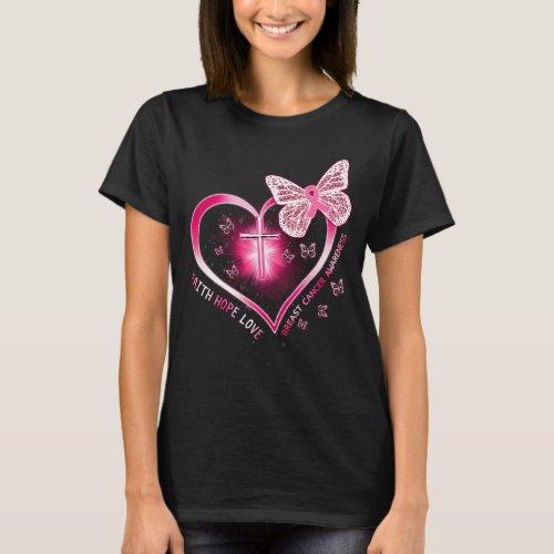 breast cancer heart cross butterfly gift survivor T_Shirt