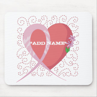 Breast Cancer Heart Customizable Mousepad