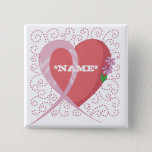 Breast Cancer Heart Customizable Square Button