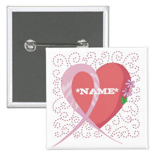 Breast Cancer Heart Customizable Square Button