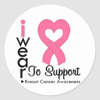 Breast Cancer Heart Ribbon Awareness Stickers