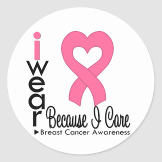 Breast Cancer Heart Ribbon Because I Care Round Stickers
