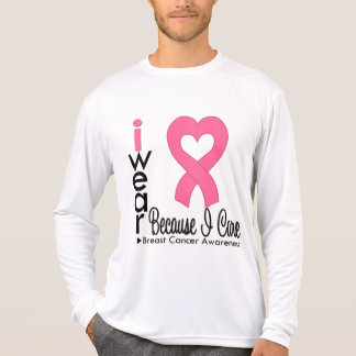 Breast Cancer Heart Ribbon Because I Care Tee Shirts