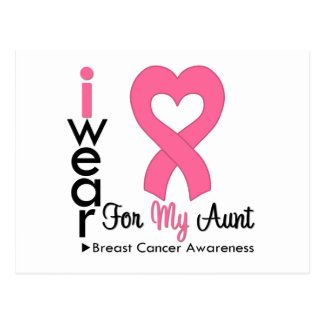 Breast Cancer Heart Ribbon For My Aunt Postcard