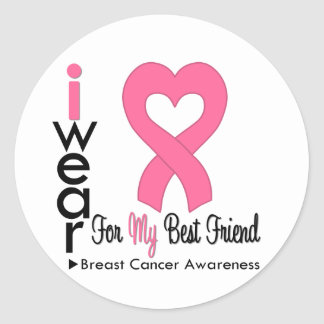 Breast Cancer Heart Ribbon For My Best Friend Sticker