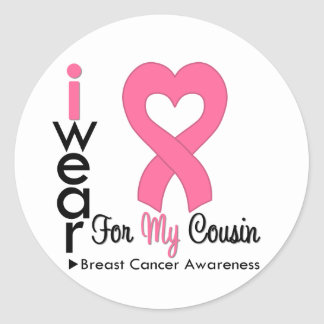 Breast Cancer Heart Ribbon For My Cousin Round Stickers