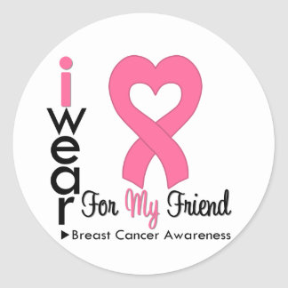 Breast Cancer Heart Ribbon For My Friend Sticker