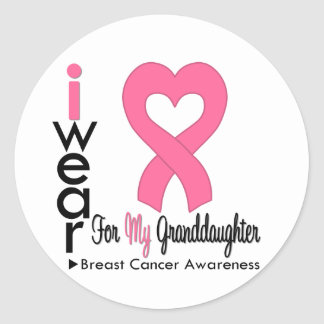 Breast Cancer Heart Ribbon For My Granddaughter Round Stickers