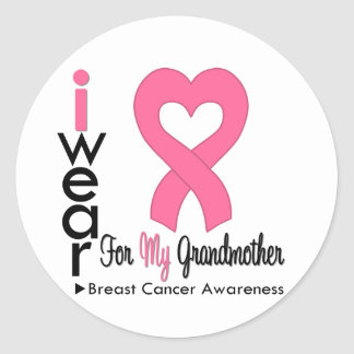 Breast Cancer Heart Ribbon For My Grandmother Round Sticker