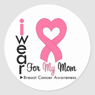 Breast Cancer Heart Ribbon For My Mom Sticker