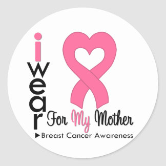 Breast Cancer Heart Ribbon For My Mother Stickers
