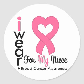Breast Cancer Heart Ribbon For My Niece Sticker