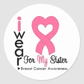 Breast Cancer Heart Ribbon For My Sister Sticker