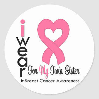 Breast Cancer Heart Ribbon For My Twin Sister Sticker