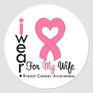 Breast Cancer Heart Ribbon For My Wife Sticker