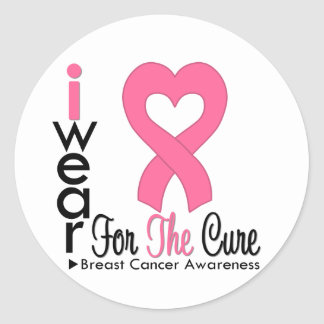 Breast Cancer Heart Ribbon For The Cure Round Sticker