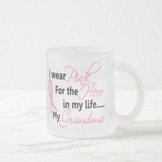 Breast Cancer HERO IN MY LIFE, MY GRANDMA 1 Frosted Glass Coffee Mug