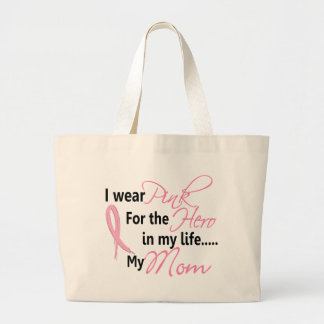 Breast Cancer HERO IN MY LIFE, MY MOM 1 Large Tote Bag