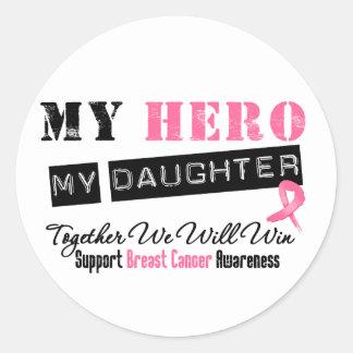 Breast Cancer HERO My Daughter Classic Round Sticker