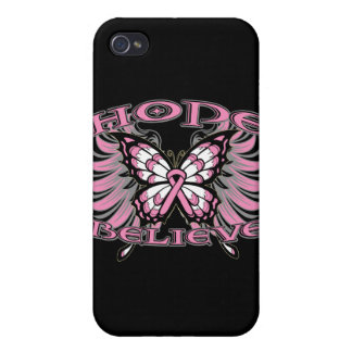 Breast Cancer Hope Believe Butterfly iPhone 4 Cover