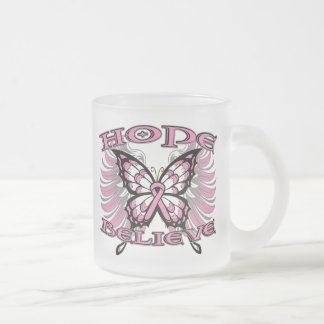 Breast Cancer Hope Believe Butterfly Mugs