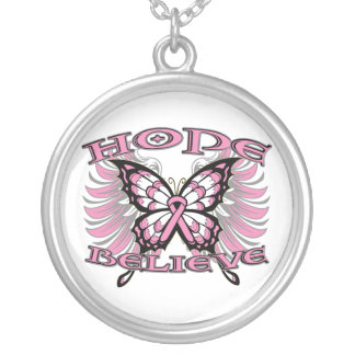 Breast Cancer Hope Believe Butterfly Necklaces