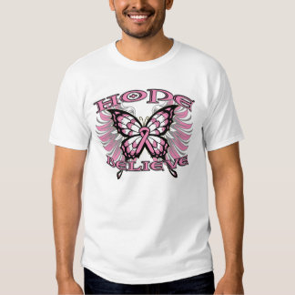 Breast Cancer Hope Believe Butterfly T-Shirt