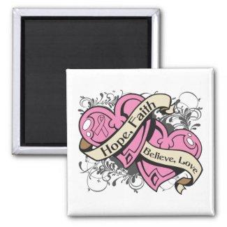 Breast Cancer Hope Faith Dual Hearts