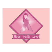 Breast Cancer Hope Faith Love Postcard