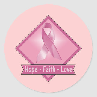 Breast Cancer Hope Faith Love Classic Round Sticker