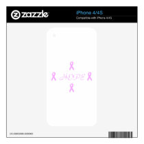 Breast Cancer Hope iPhone 4S Decal