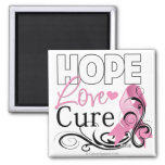 Breast Cancer Hope Love Cure 2 Inch Square Magnet