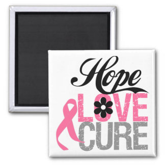Breast Cancer HOPE LOVE CURE Gifts 2 Inch Square Magnet