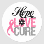 Breast Cancer HOPE LOVE CURE Gifts Classic Round Sticker
