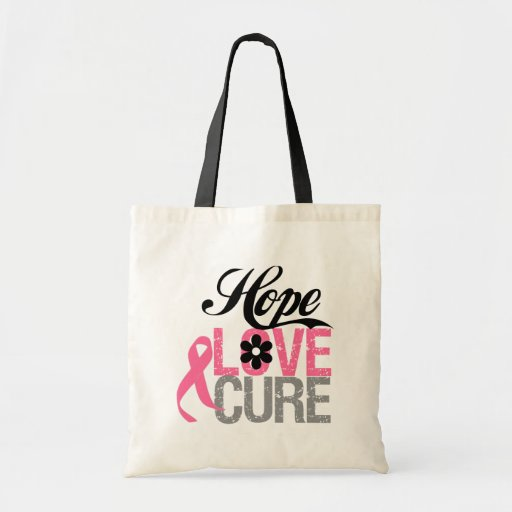 Breast Cancer HOPE LOVE CURE Gifts Tote Bag