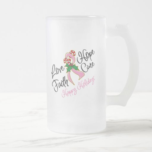 Breast Cancer Hope Love Cure Happy Holidays 16 Oz Frosted Glass Beer Mug