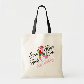 Breast Cancer Hope Love Cure Happy Holidays Tote Bag