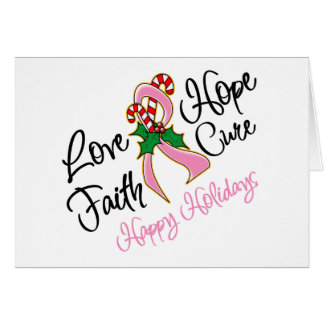 Breast Cancer Hope Love Cure Happy Holidays Greeting Card