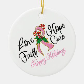 Breast Cancer Hope Love Cure Happy Holidays Ceramic Ornament