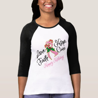 Breast Cancer Hope Love Cure Happy Holidays T-shirt