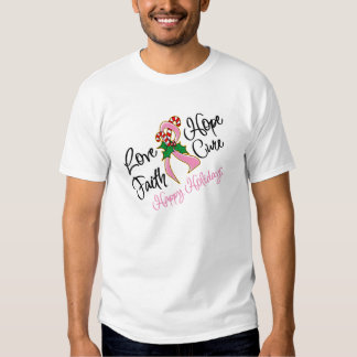 Breast Cancer Hope Love Cure Happy Holidays Tshirt