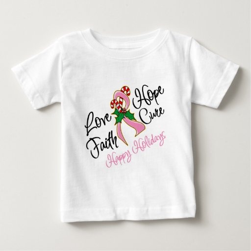 Breast Cancer Hope Love Cure Happy Holidays T Shirts