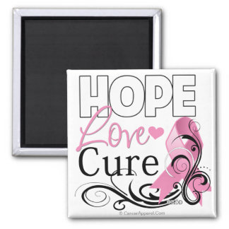Breast Cancer Hope Love Cure Refrigerator Magnet