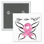 Breast Cancer Hope Love Faith 2 Inch Square Button