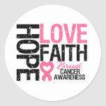 Breast Cancer Hope Love Faith Classic Round Sticker