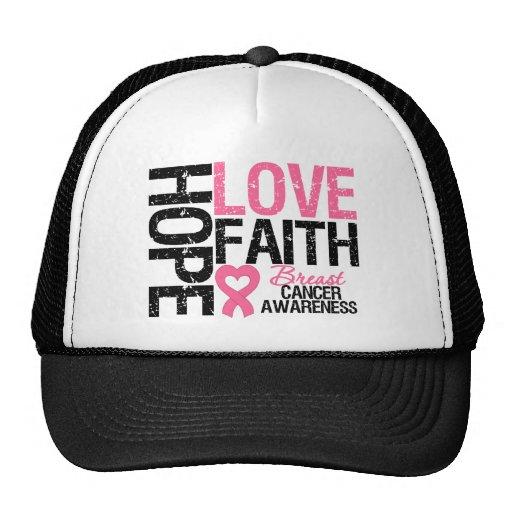 Breast Cancer Hope Love Faith Mesh Hats