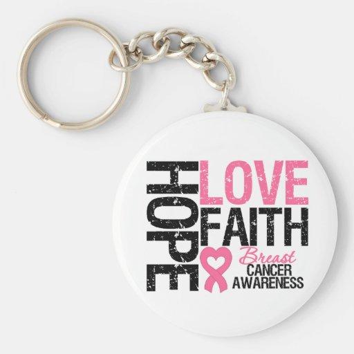 Breast Cancer Hope Love Faith Key Chain