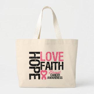 Breast Cancer Hope Love Faith Large Tote Bag