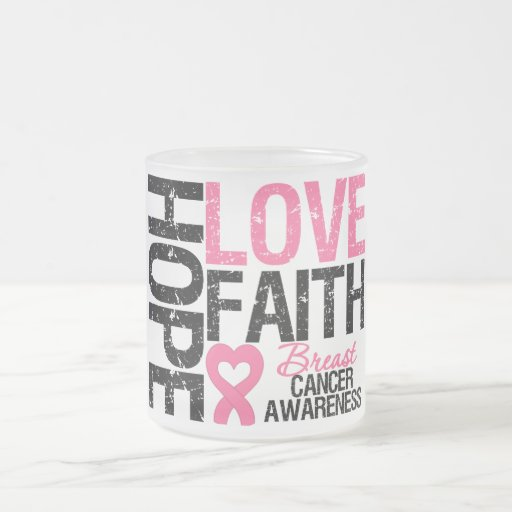 Breast Cancer Hope Love Faith 10 Oz Frosted Glass Coffee Mug