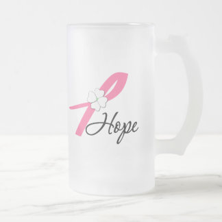 Breast Cancer Hope Ribbon Frosted Glass Beer Mug